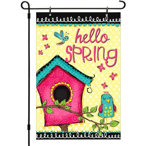 Made in USA Reversible Printed Garden Flag Outdoor Yard Décor Hello Spring by CounterArt® 12 x 18.25 inches