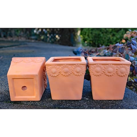 """Set of 3 square planters Crafted raised flowers - 4.25"""" x 4.25"""""""