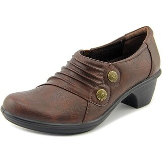 Easy Street Edison Women Round Toe Synthetic Brown Loafer