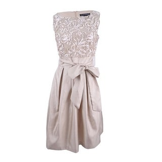 Jessica Howard Women's Embroidered Sash Fit & Flare Dress - Champagne - 6