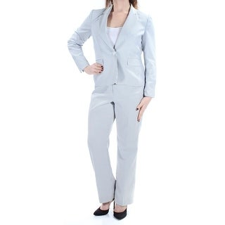 Womens Gray White Striped Wear To Work Straight leg Pant Suit Petites Size 8