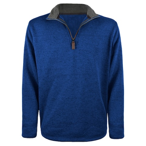 Victory Men's Sherpa Collared Salt & Pepper 1/4 Zip or Snap Pullover Sweater