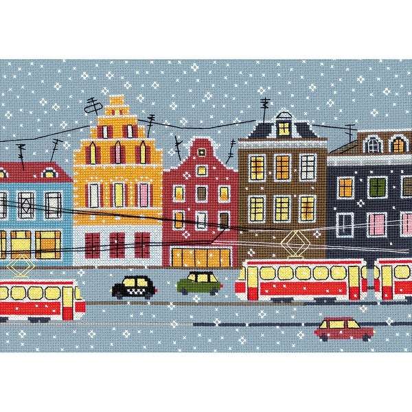 """Tram Route Counted Cross Stitch Kit-11.75""""X8.25"""" 14 Count"""
