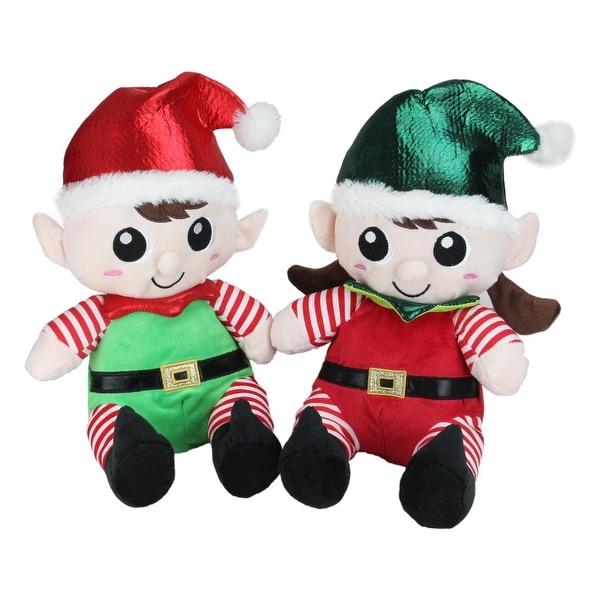 "Set of 2 Plush Sitting Boy and Girl Christmas Elf Figures 13"" - green"