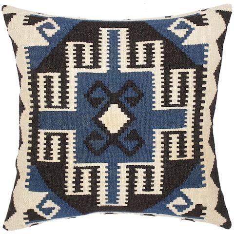 Bohemian Kareen Hand-Woven Turkish Kilim Throw Pillow 20 in. x 20 in.