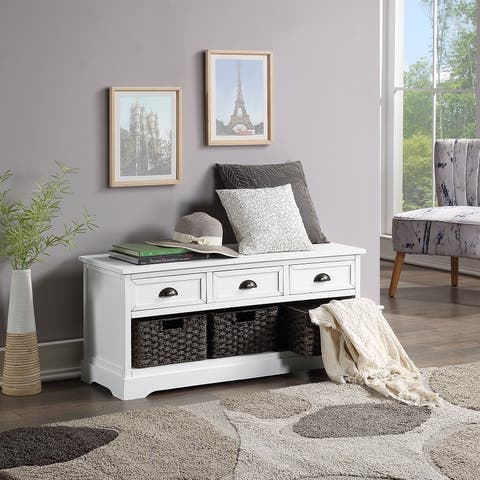 Moda Homes Collection Wood Storage Bench with 3 Drawers 3 Woven Baskets