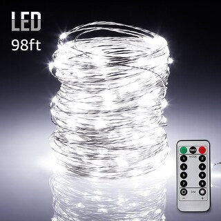 98ft 300LEDs Fairy String Lights Dimmable with Remote Control Daylight