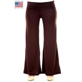 Plus Size Women's Brown Palazzo Pants Lose Fit Wide Leg Folding Waist Sexy Comfy