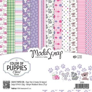 "Elizabeth Craft Modascrap Paper Pack 6""X6"" 12/Pkg-Color Of Puppies Girl"