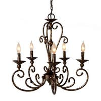 """Antique Gold Decorative Scroll Chandelier with Hard Wire Kit Included 24"""""""