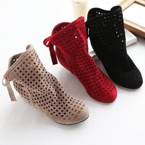 Women's Summer Boots Flat Low Hidden Wedges Cutout Ankle Boots Ladies Dress Casual Shoes Hot Sale Cute Flock Big Size