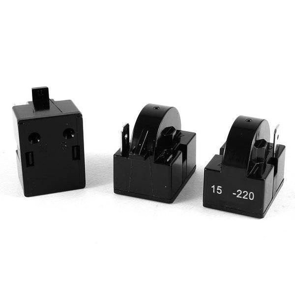 Unique Bargains 3pcs Black Plastic Shell Refrigerator PTC Starter Relay  Single Terminal 15 Ohm