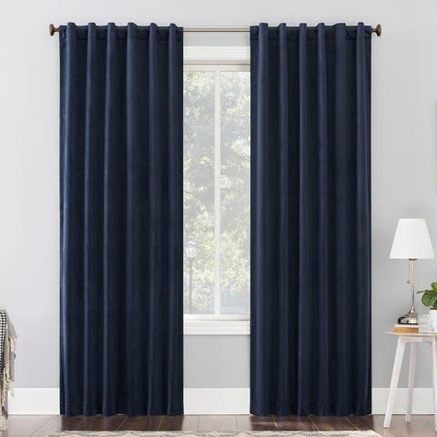 Sun Zero Amherst Velvet Noise Reducing Thermal Extreme Total Blackout Back Tab Curtain Panel