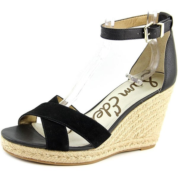 74cf7372e32 Shop Sam Edelman Brenda Women Open Toe Suede Black Wedge Sandal ...