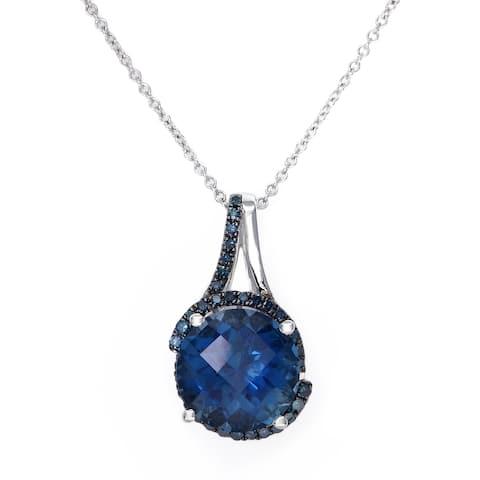 Effy Jewelry London Blue Topaz Pendant with Blue Diamonds in 14K White Gold, 4.3 TWC