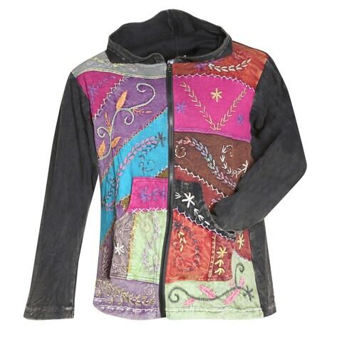 Women's Zip Front Hoodie - Folk Art Hand-Embroidered Sweatshirt