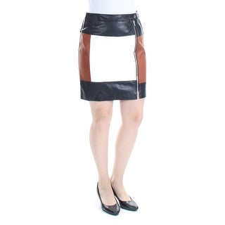 Womens Brown White Color Block Above The Knee Sheath Skirt Petites Size 6
