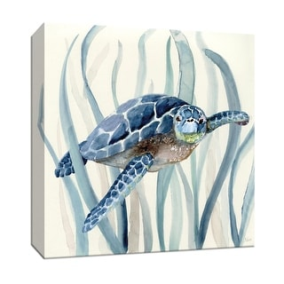 "PTM Images 9-147584  PTM Canvas Collection 12"" x 12"" - ""Turtle in Seagrass I"" Giclee Sea Animals Art Print on Canvas"