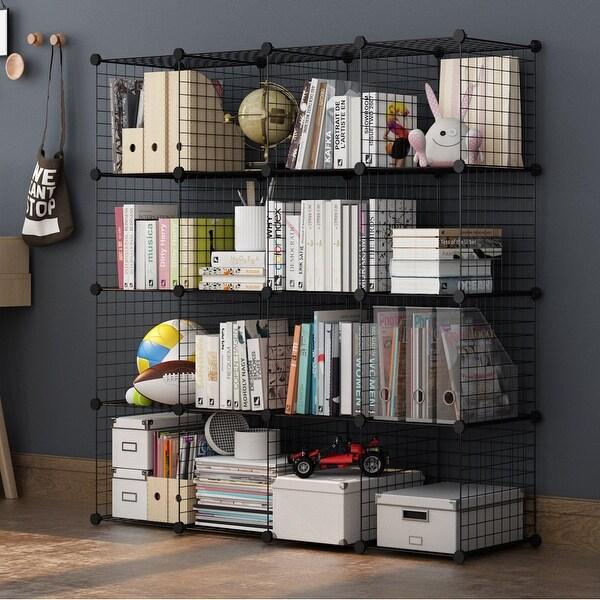 shop langria 16 cube diy wire grid bookcase multi use modular storage shelving rack on sale. Black Bedroom Furniture Sets. Home Design Ideas