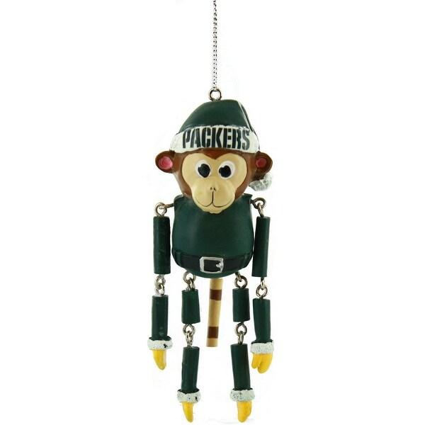 Green Bay Packers Resin Dangling Monkey Ornament