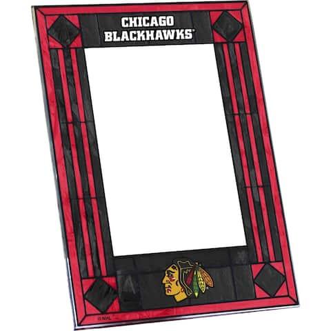 Chicago Blackhawks Art Glass Vertical Picture Frame