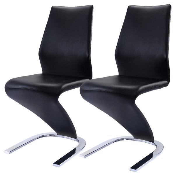 Costway 2 Pcs Dining Chairs Pu Leather High Back Furniture Home Room Black