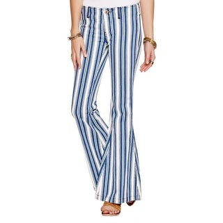 Free People Womens Jolene Flare Jeans Striped Low Rise