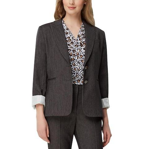 Tahari ASL Womens Two-Button Blazer Denim Suit Separate - Black