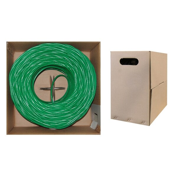 Offex Bulk Cat6 Green Ethernet Cable, Solid, UTP (Unshielded Twisted Pair), Pullbox, 1000 foot