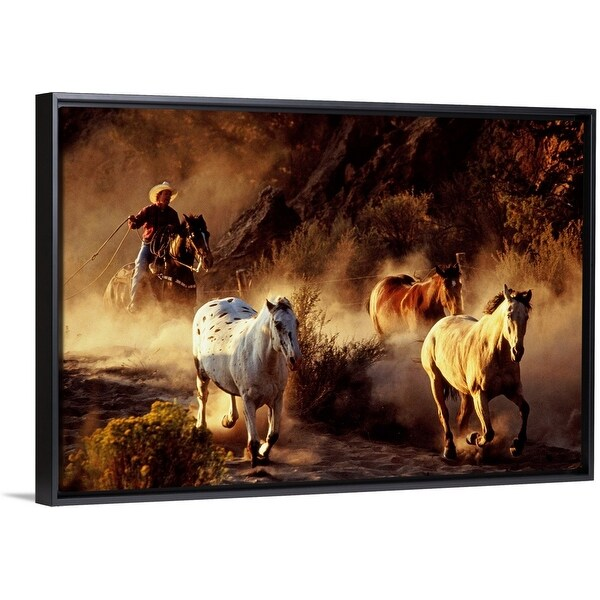 Shop Quot Usa Cowboy On Horse Trying To Lasso Wild Horses