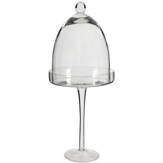 "14"" Decorative Clear Transparent Glass Stand with Dome Table Top Decoration"