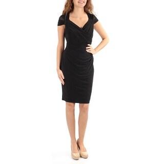Womens Black Cap Sleeve Knee Length Party Dress Size: 2