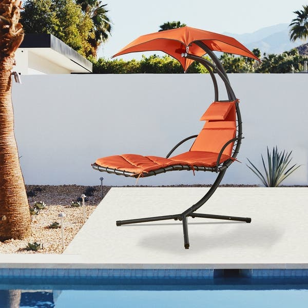 Hanging Chaise Lounge Chair Canopy Floating Chaise Lounger Swing Hammock Chair For Patio Garden Deck And Poolside Overstock 31575597