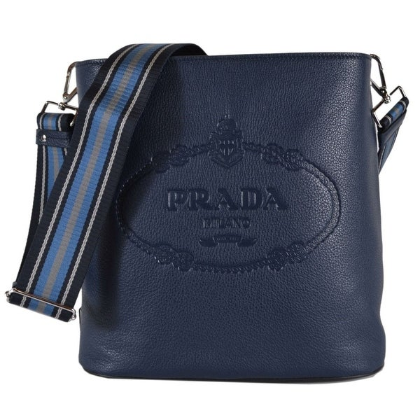 36fb808ab3ea Prada 1BE023 Vitello Secchiello Blue Leather Embossed Logo Crossbody Purse