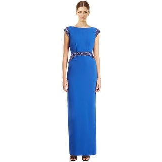 Pamella by Pamella Roland Cowl Back Beaded Evening Gown Dress