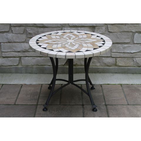 """Cordora 24"""" Spanish Marble Mosaic Accent Table"""