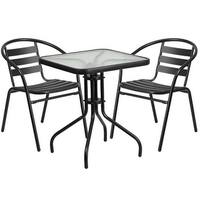 Skovde 3pcs Square 23.5'' Glass Metal Table w/2 Black Stack Chairs