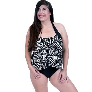 One Piece Front Draped Halter Tie Swim in Black/White Graphic Print|https://ak1.ostkcdn.com/images/products/is/images/direct/6e7a976060f8ddb026ad22d6310e1b27f4105265/Deep-Blue-Swim-by-Oxygen%27s-Black-White-Print-Front-Draped-One-Piece-Swim-with-Halter-Tie-Strap.jpg?impolicy=medium