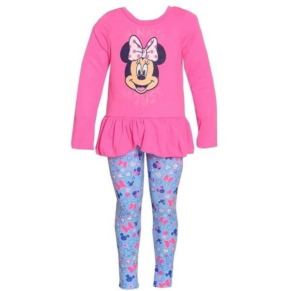 44fb2a039deb3 Shop Disney Little Girls Pink Minnie Mouse Print Ruffle 2 Pc Leggings Outfit  - Free Shipping On Orders Over $45 - Overstock - 23614119