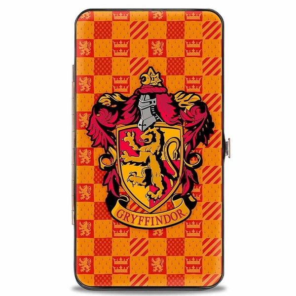 Harry Potter Gryffindor Crest Heraldry Checkers Golds Reds Hinged Wallet One Size - One Size Fits most
