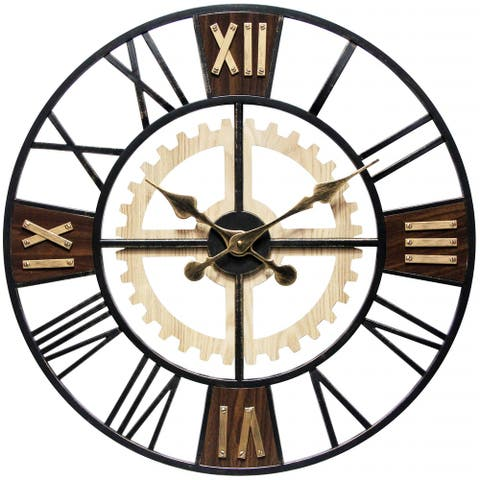 Graham 24 inch Decorative Roman Numeral Wood Wall Clock - 24 inch