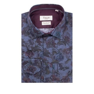 Blue with Floral Pattern Modern Fit Sport Shirt by Tiglio Sport