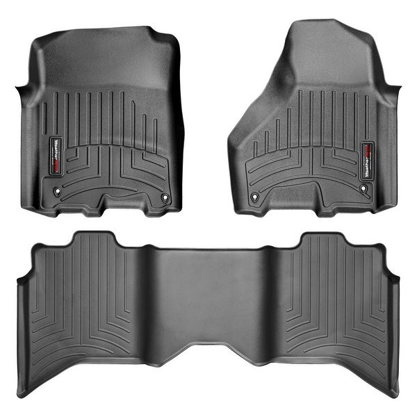 WeatherTech 444781-442163  Black Front & Rear FloorLiner: Dodge Ram 1500 2012 + Crew Cab