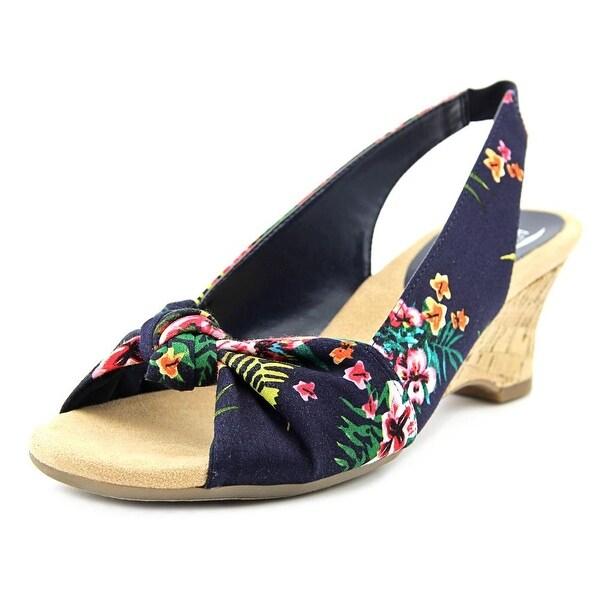 Aerosoles Zen Garden Women W Open-Toe Canvas Blue Slingback Sandal