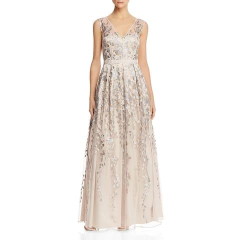 Eliza J Womens Formal Dress V-Neck Sequined - Taupe