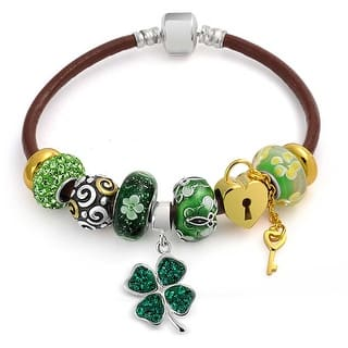 Bling Jewelry Sterling Silver Flower Green Clover Glass Crystal Enamel Charm Bracelet|https://ak1.ostkcdn.com/images/products/is/images/direct/6e7ce3edfe9779975e0f017363d1013dfba65e37/Bling-Jewelry-Sterling-Silver-Flower-Green-Clover-Glass-Crystal-Enamel-Charm-Bracelet.jpg?impolicy=medium