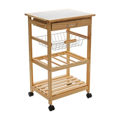 """Neu Home Rolling Kitchen Cart with Ceramic Countertop - 18.50 x 14.50 x 30.00"""""""