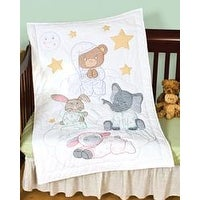 "Praying Bear & Friends - Stamped White Quilt Crib Top 40""X60"""