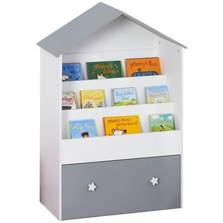 Link to HOMCOM 3-Tier Children Bookcase w/ Drawer Storage Organizer Bedroom Study White & Grey Similar Items in Kids' & Toddler Furniture
