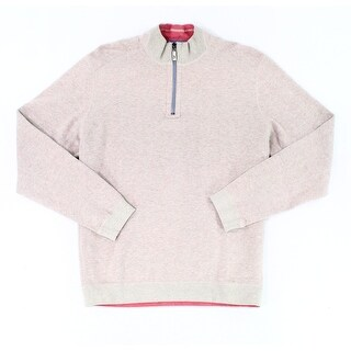 Tommy Bahama Beige Mens Size Small S Reversible Quarter Zip Sweater